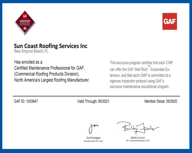 GAF Certified Maintenance Professional Certification